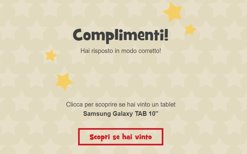 complimenti hai vinto un tablet
